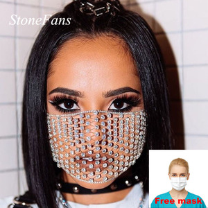 Stonefans Trendy Rhinestone Mouth Face Mask Virus for Women Personalise Decorative Face Mask Crystal Prom Party Jewelry Gift