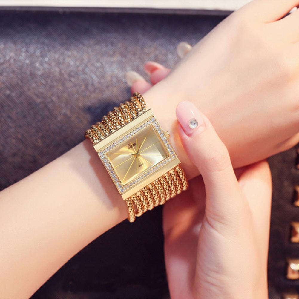 Luxury Rhinestone Women Watch Square Dial No Number Alloy Band Ladies Quartz Tassel Bracelet Wrist Watches Relogio Feminino