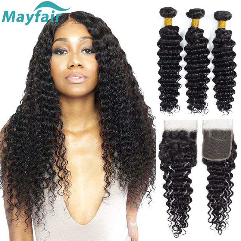 Brazilian Deep Wave Bundles With Closure Brazilian Hair Weave Bundles With Closure Non Remy Human Hair Bundles With Closure