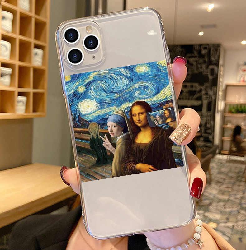 Retro Điêu Khắc Nghệ Thuật Trừu Tượng Silicone Mềm Điện Thoại Di Động Dành Cho Iphone 11 11pro Max X Xr Xsmax 6 8 7plus 5 SE Trong Suốt
