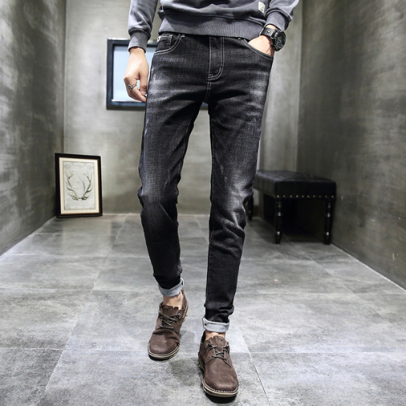 Jeans Men's Korean-style Trend Slim Fit Pants Autumn And Winter New Style Elasticity Straight-Cut Casual Black And White With Pa
