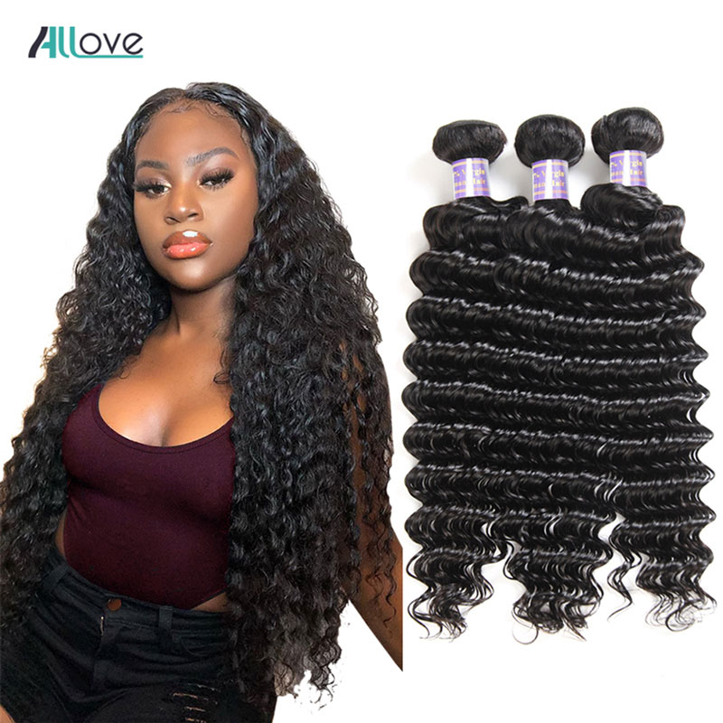Allove Malaysian Deep Wave Hair Bundles 100% Human Hair Weave Bundles Non-Remy Hair Extension Malaysian Hair Bundles