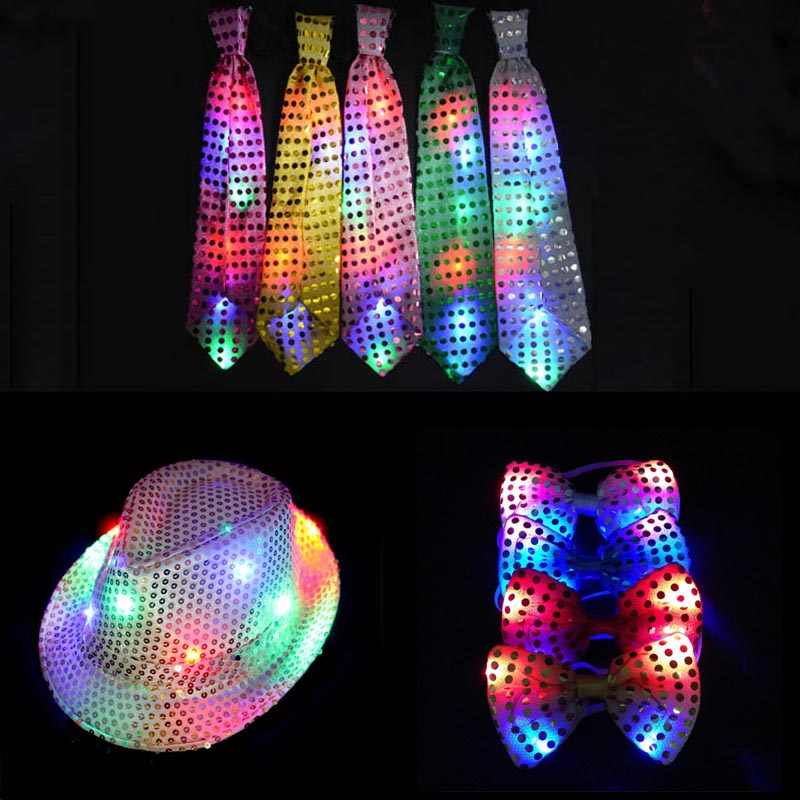 Female Male Party Light Sequins LED Necktie Neck Tie Hip Hop Jazz Hats Cap Bow Flashing Blinking Hat Wedding  Birthday Halloween