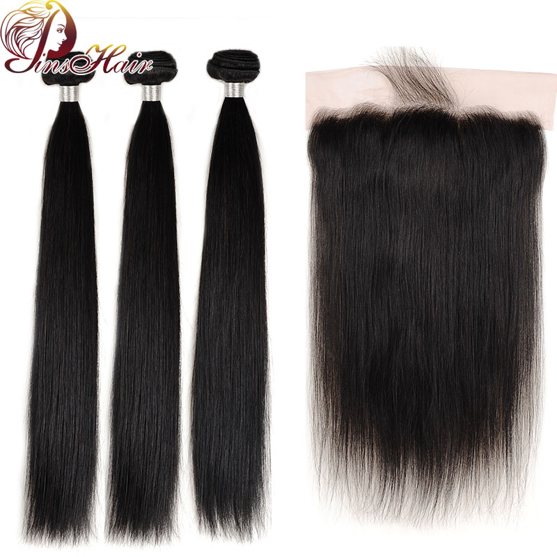 Peruvian Natural Color Human Hair Bundles With Front Pinshair Non-remy Staight Hair Bundles With Closure Pre Plucked Hairline
