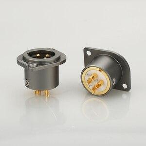 Image 5 - 1 pçs viborg cobre puro 24 k banhado a ouro xlr 3 pinos chassis fêmea painel montado soquete adaptador de solda