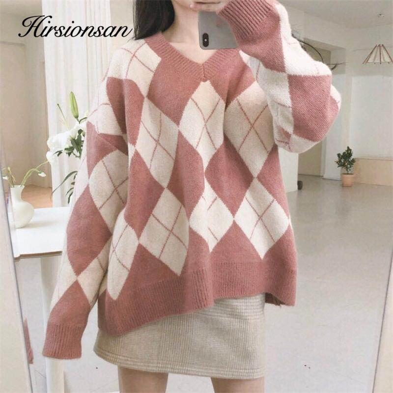 Hirsionsan Women's Sweater Diamond Lattice Soft Thicken V-neck Pullover Pink Clothes Vintage Knitted Oversized Kawaii Women Tops