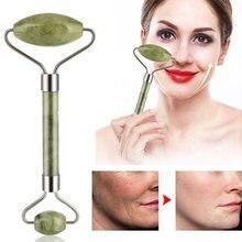 Double Head Facial Massage Jade Stone Roller Face Body Head Neck Nature Beauty D