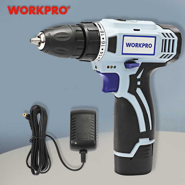 WORKPRO 12V Cordless Drill Electric Screwdriver Mini Wireless Power Driver DC Lithium Ion Battery 3/8 Inch 2 Speed