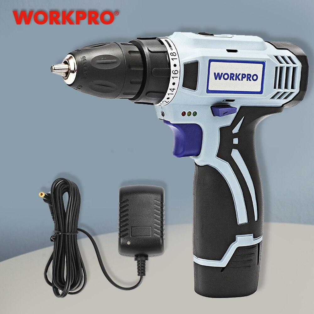 Workpro 12 v furadeira sem fio chave de fenda elétrica mini driver de energia sem fio dc bateria de lítio-íon 3/8-Polegada 2-speed