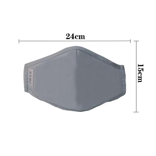 * Algodón PM2.5 máscara de boca negra antipolvo filtro de carbón activado a prueba de viento a prueba de bacterias a prueba de gripe mascarillas cuidado