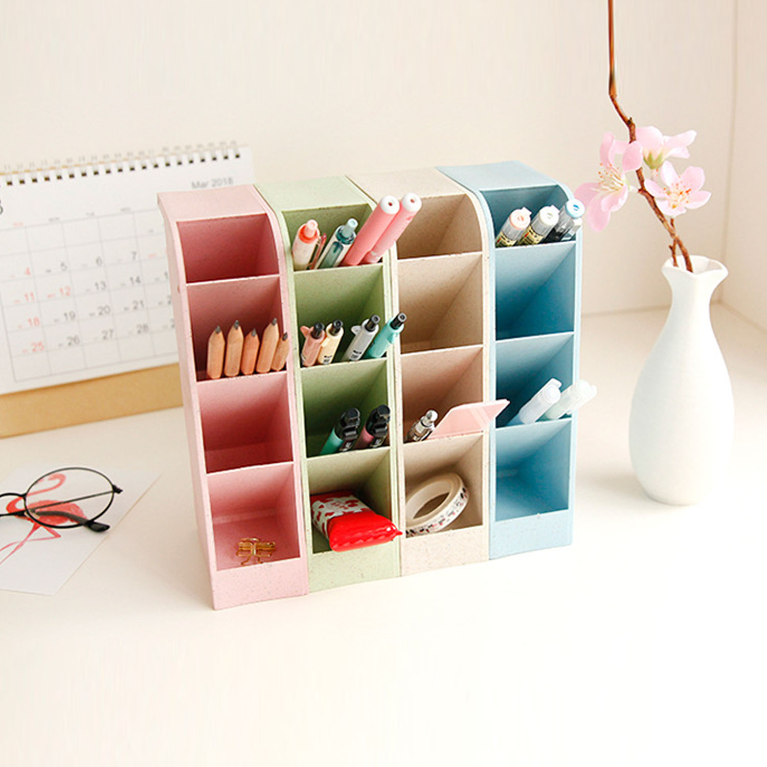 Multi-function 4 Grid Desktop Pen Holder Durable Desk Pencil Organizers Stationery Stand Box For Home Office Classroom Keep Tidy