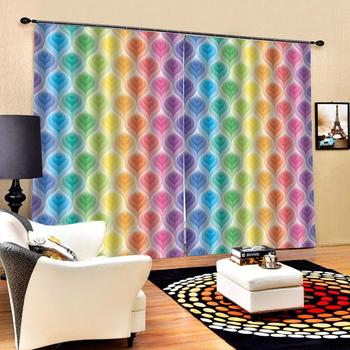 personality curtains  photo Blackout Window Drapes Luxury 3D Curtains For Living room rainbow curtains