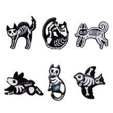 Halloween cartoon animal cat bird skeleton shape badges Enamel pins Halloween party decor gift 1PC