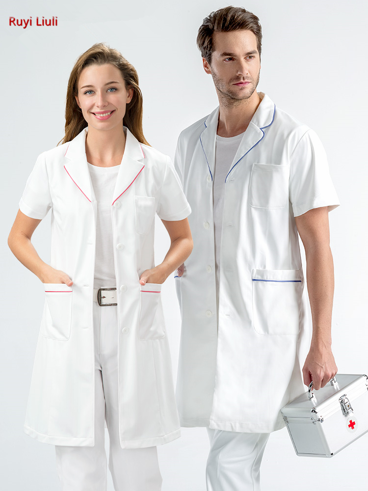 White Doctor's Gown Short Sleeve Men And Women's Lab Clothes Plastic Skin Management Hospital Uniform