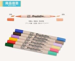 Image 2 - ZIG Kuretake MS 7700, водостойкая кисть для кисти, Цветная кисть с двумя кончиками, 4 шт., набор маркеров, Япония