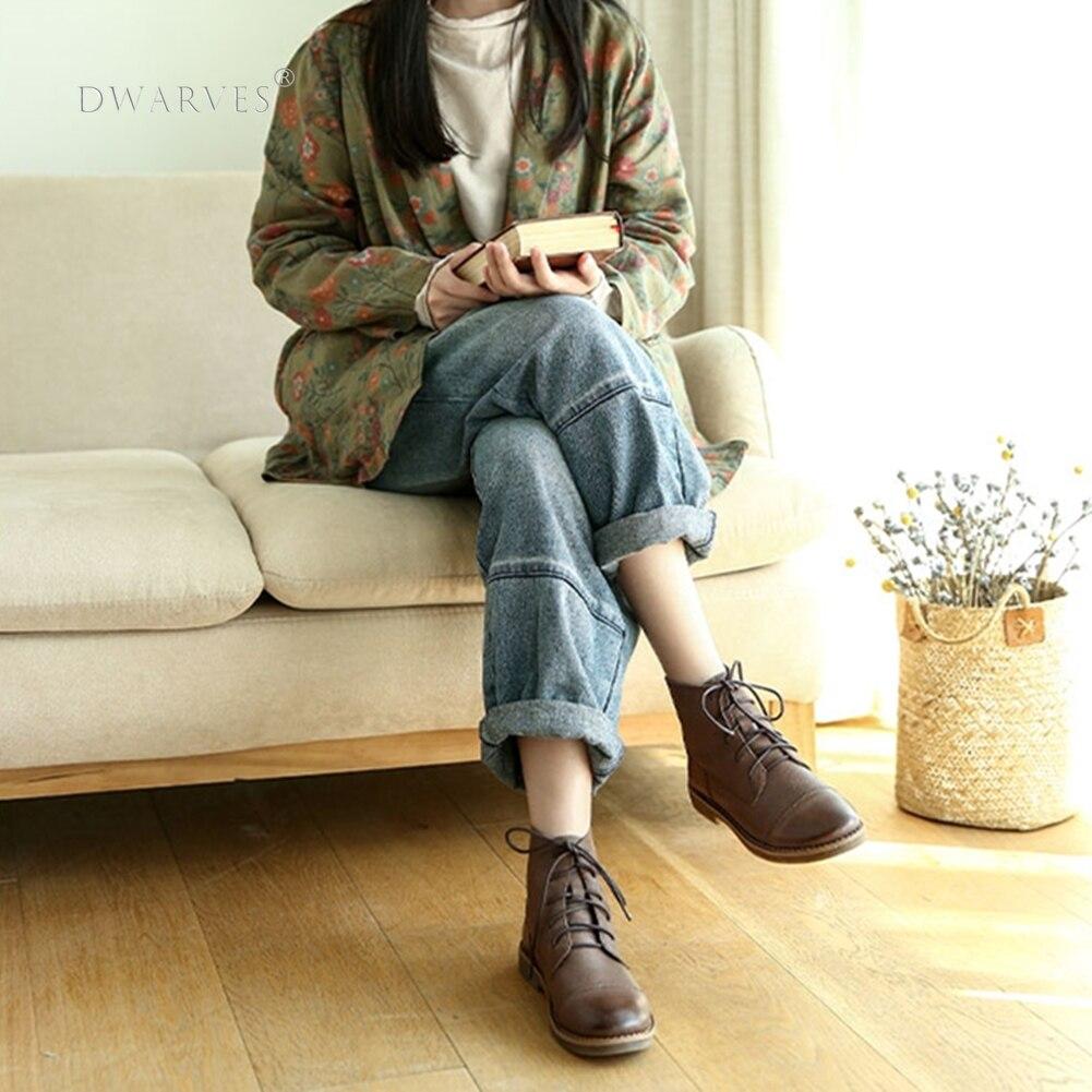 Женские кожаные ботильоны на плоской подошве, черные/серые дизайнерские ботинки ручной работы на шнуровке с круглым носком, повседневная о...