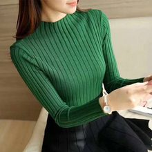 Women Slim Knit Sweaters Autumn Winter Clothes Long Sleeve Solid Color Warm Ladies Jumper Pullover(China)