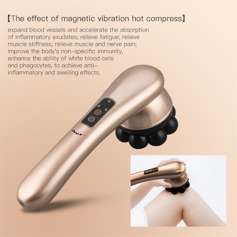 Electric Handheld Massager Vibration Heating with 360°Rotating Magnetic Ball Neck Back Boday Muscle Relax Deep Tissue Massage 53