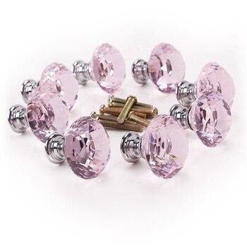 8 x pembe elmas bling dekorasyon kapı mobilya çekmece kolu topuzu 30x27mm|Kapı Kolları|Ev Dekorasyonu -