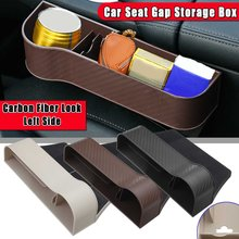 Carbon Fiber Plastic Left+Right Car Seat Crevice Gaps Storage Box Auto Drink for Pockets Organizers Stowing Tidying Universal