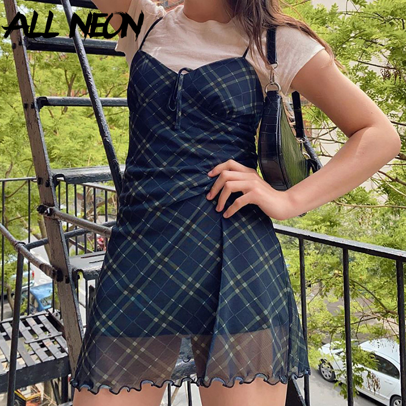 ALLNeon E Girl 90s Spaghetti Strap Bandage Front Ruffles Plaid Dresses Vintage Mesh V neck Backless A line Mini Dress Partywear