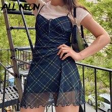 ALLNeon E-Girl 90s Spaghetti Strap Bandage Front Ruffles Plaid Dresses Vintage Mesh V-neck Backless A-line Mini Dress Partywear