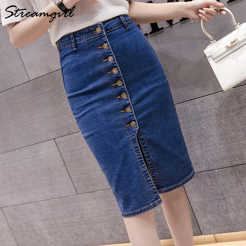 Denim Midi Skirt Pencil High Waist Skirts Womens Summer Pencil Denim Skirt With Buttons Knee Length Large Size Denim Skirts 2020