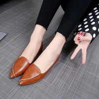 Nueva primavera las mujeres planos de las mujeres superficial zapatos de Mujer con puntiagudo dedo del pie sólido Causal de goma de moda Mujer zapatos XWD7151