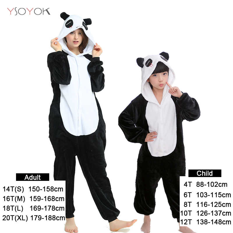 Kigurumi Panda pajamas Unicorn animal Cartoon children pijama for Boys Girls Kids Winter Warm Flannel stitch onesie Sleepwear