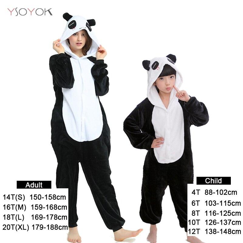 Kigurumi Panda Pajamas Unicorn Animal Cartoon Children Pijama For Boys Girls Kids Winter Warm Flannel Stitch Onesie Sleepwear