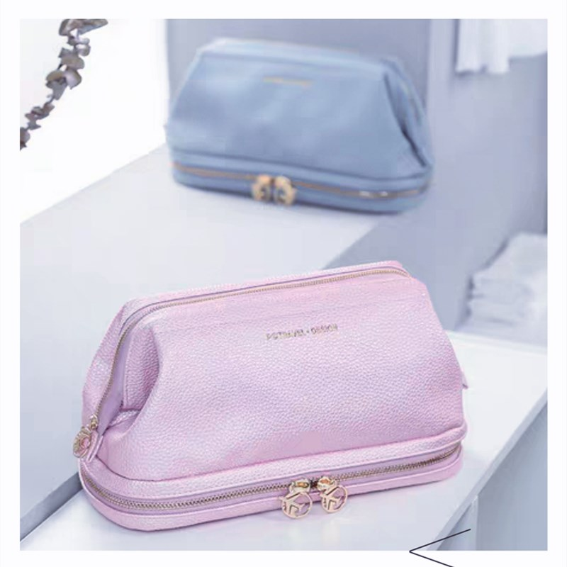 Makeup Bag Women PU Letter Pink Fashion Large Travel Organizer Double Layer Cosmetic Bag TPU Waterproof