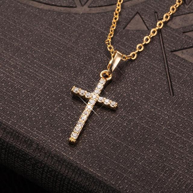 Fashion Female Cross Pendants dropshipping Gold Black Color Crystal Jesus Cross Pendant Necklace Jewelry For Men/Women Wholesale 3
