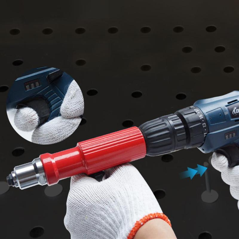 Electric Rivet Nut Gun Riveting Tool No Skidding Quick Back Nail Riveting Firm Insert Riveter Riveting Drill Adapter Kit