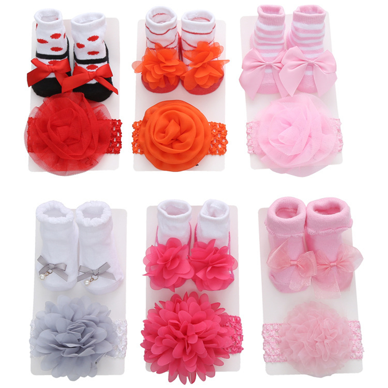 New Arrival Newborn Headband Floral Lace Baby Socks Bow Princess Cute Cotton Baby Socks+ Hair Band Girls Headwear Accessories