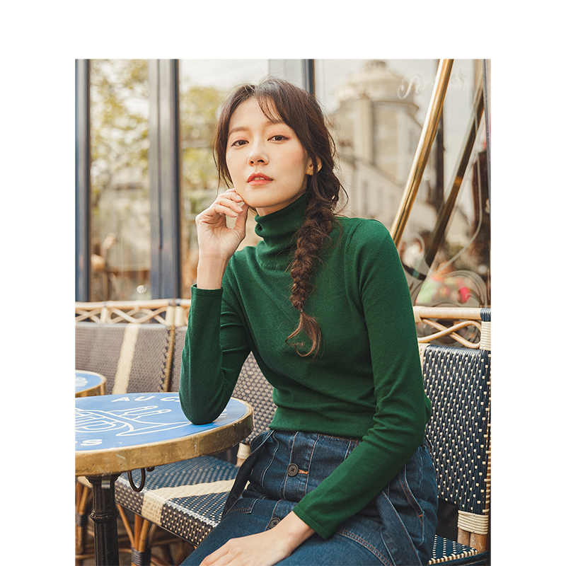 INMAN 봄 가을 미니멀리즘 솔리드 모든 일치하는 하이 칼라 슬림 풀오버 여성 스니트 스웨터