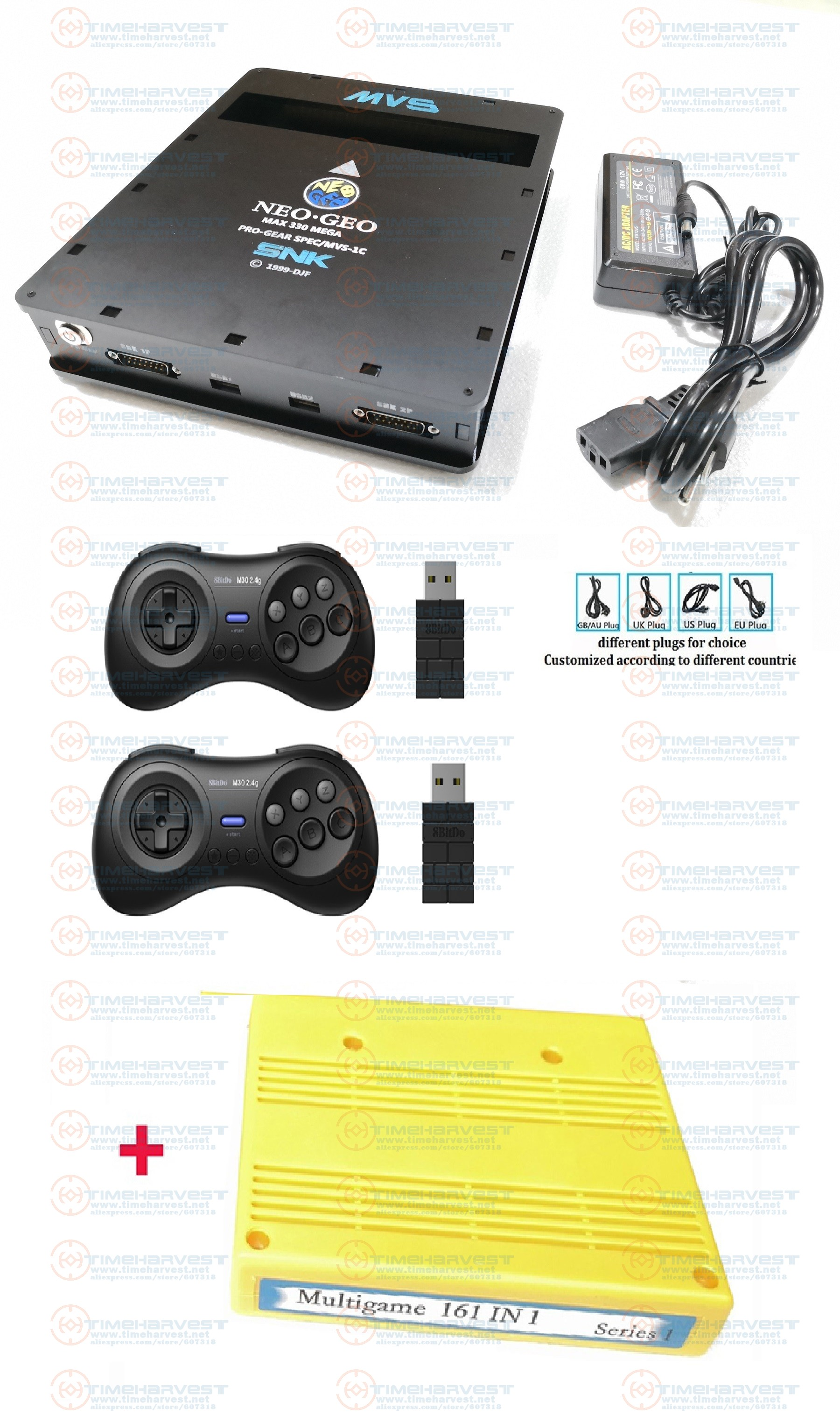 <font><b>CBOX</b></font> <font><b>MVS</b></font> console SNK NEOGEO CMVS with 2pcs 8BitDo 2.4G USBWireless joypad & 161 in 1 game cartridge Arcade Family Party TV games image