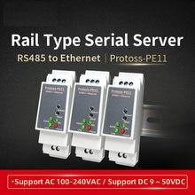 Din-Rail Seriële Poort RS485 Naar Ethernet Converter Apparaat Server Protoss-PE11 AC110V ~ 220V Of Dc Ondersteuning Modbus tcp Om Rtu