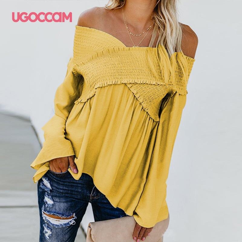 UGOCCAM Blouse Shirt Sexy Women Blouses Off Shoulder Autumn Shirts Irregular Hem Shirt Plus Size Summer Women Shirts ropa mujer(China)