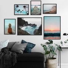 Морской пляж кокосовое дерево настенная живопись холст Пейзаж