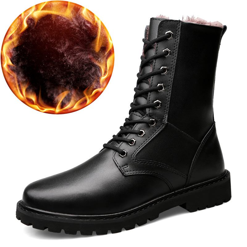 Leather Military Winter Boots Motorcycle Boots Men Shoes Genuine Leather With Fur Riding Casual Walking Shoes