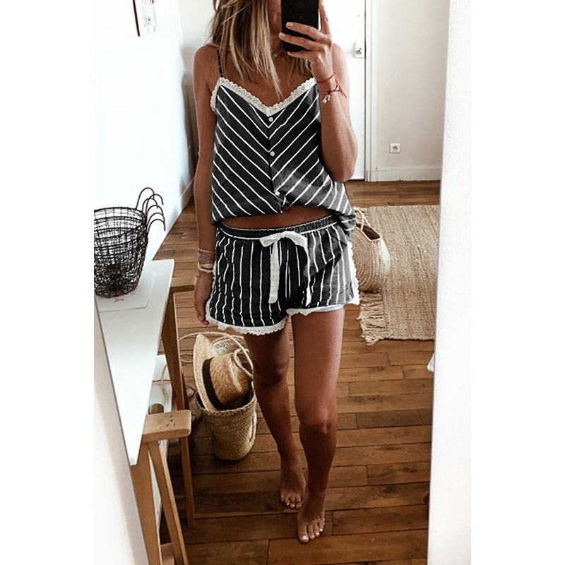 Shi Ying Europe And America Spaghetti Strap Pajamas Female Summer 2020 New Style Comfortable Breathable Stripes V-neck Women's H