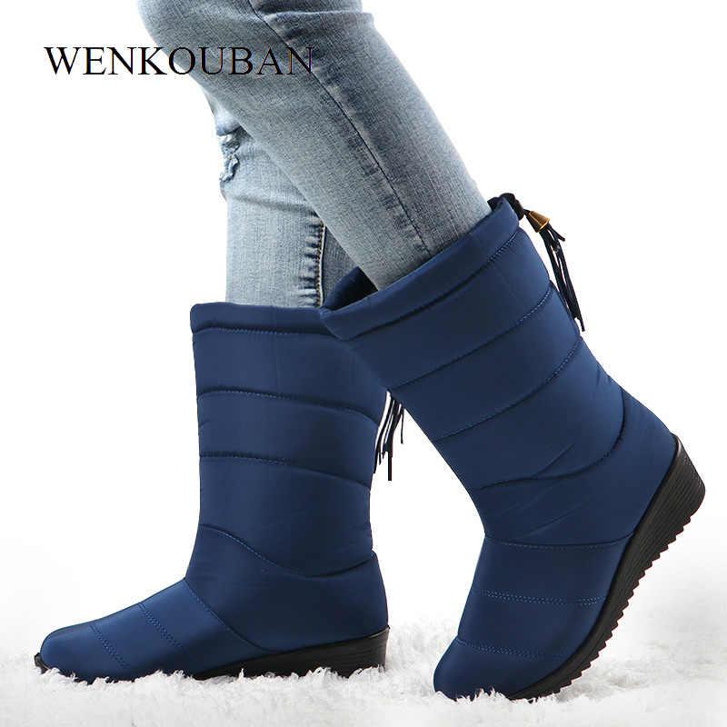 กันน้ำฤดูหนาวรองเท้าหญิงรองเท้า MID-CALF ลงรองเท้าผู้หญิงสุภาพสตรีสุภาพสตรีหิมะ Bootie WEDGE ยางตุ๊กตา Botas Mujer 2019