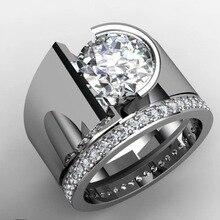 Luxruy Weiblich Männlich Paar Ringe Für Frauen Party Geschenk Runde Zirkon Stein Ringe Exquisite Kristall Hochzeit Engagement Ring Mode