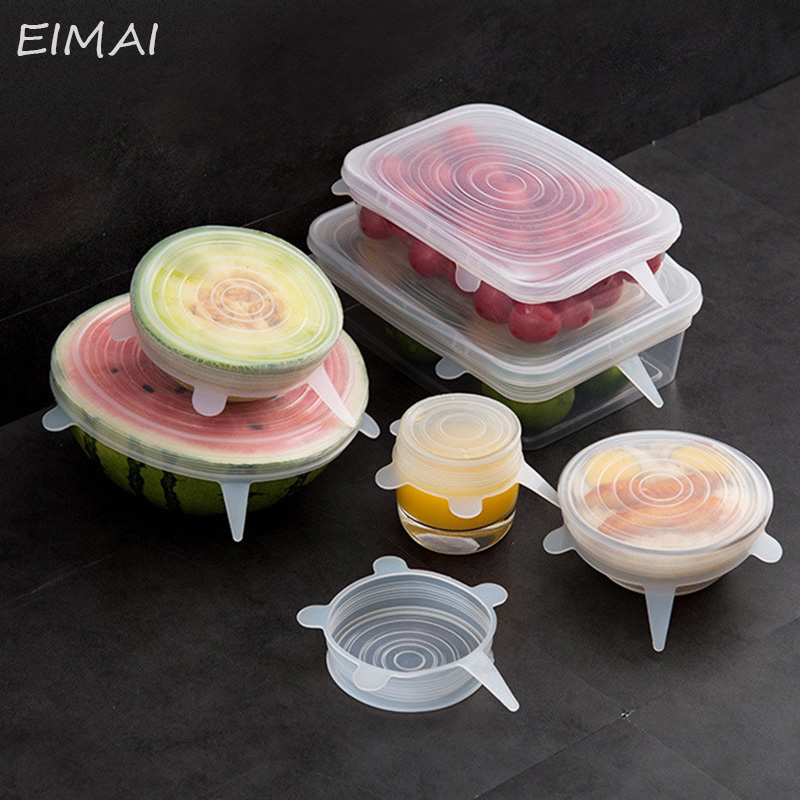 6 Pcs/ Set Universal Food Silicone Cover Reusable Silicone Stretch Lids Caps For Cookware Pot Cover Kitchen Accessories