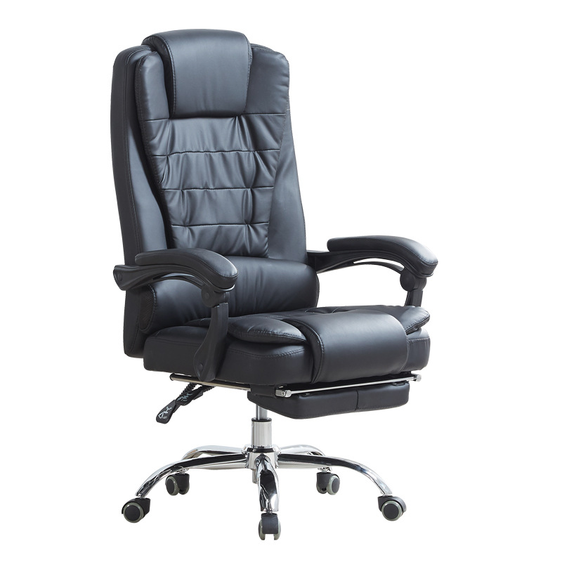 Free Shipping Home Office Computer Chair Conference Chair Reclining  Lift Swivel Chair PU Leather Footrest Lunch Break