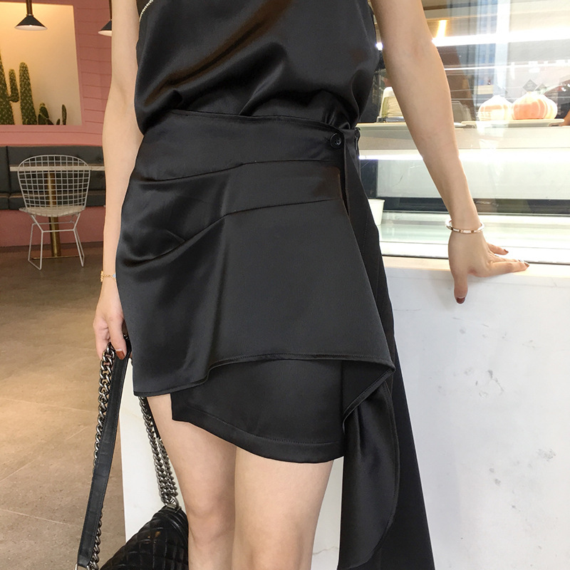 2019 Spring And Summer New Style Black And White With Pattern Reserved By Oneself Irregular Hem Elegant Slimming Skirt Short Ski