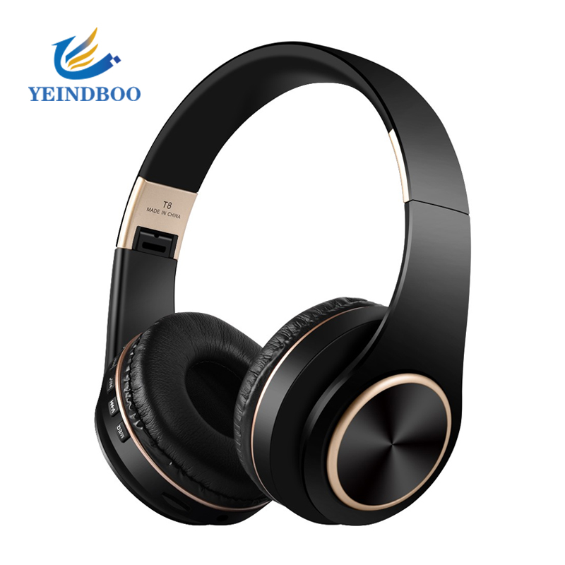T8 HIFI Stereo Earphones Bluetooth Headphone Music Headset Support TF Card With Mic For Mobile Xiaomi Iphone Sumsamg Tablet