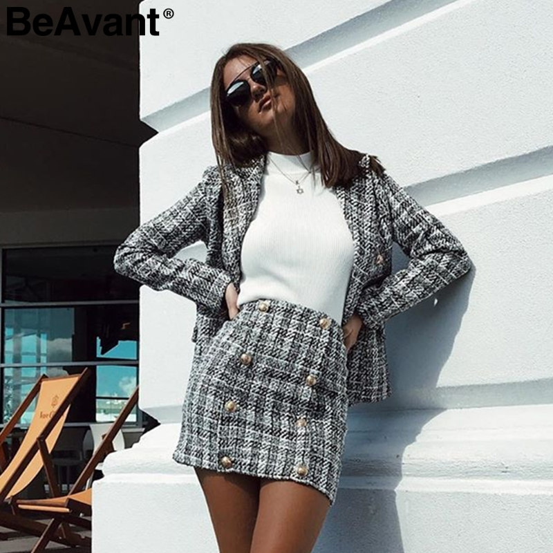 BeAvant Two-piece Set Plaid Tweed Women Suit Casual Streetwear Blazer Suits Female Blazer Sets Office Ladies Blazer Tops 2019