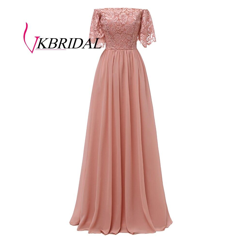 Vkbridal Bridesmaid Dresses For Wedding Party 2019 Chiffon Lace Vestidos De Madrinha A-Line Formal Long Prom Dress