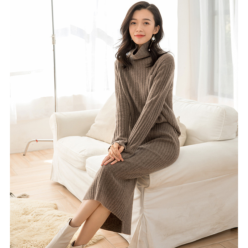 New Style Fashion Western Style Elegant Stripe WOMEN'S Dress Cashmere Wool Up And Down Set Two-Piece Knitted Mid-length Skirt